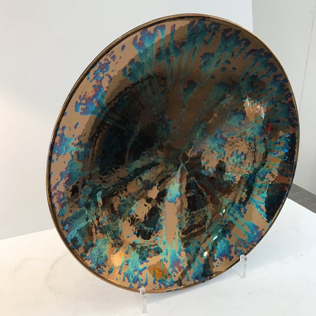 Artist Blue and Bronze Abstract Decorative Platter - Image 3 of 8