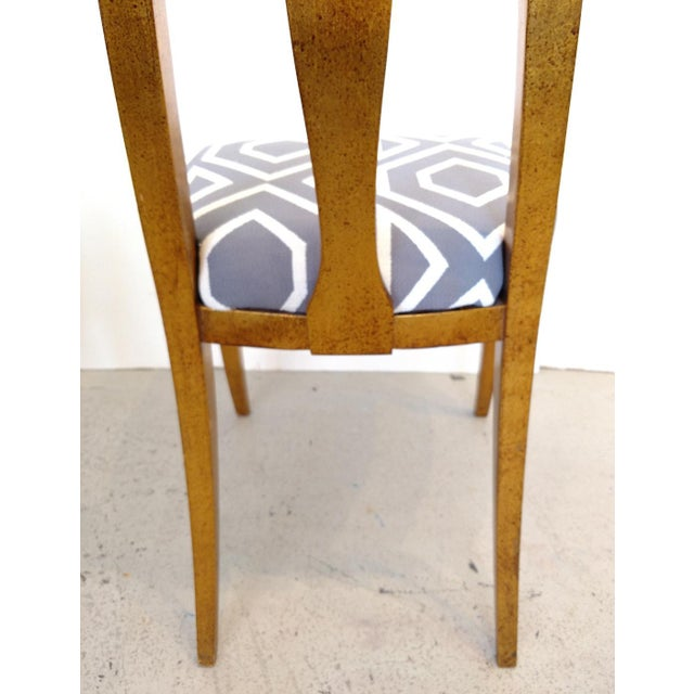 1960's Cathedral Arch-Backed Side Chairs, Gold-Leafed/ Shell Inlaid, a Pair For Sale - Image 10 of 12
