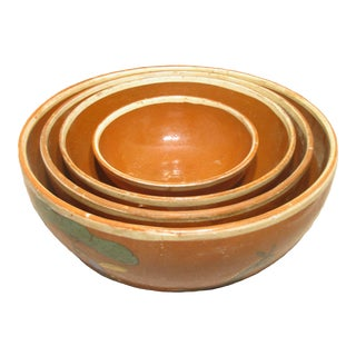 Mid-Century Mexican Hand-Painted Earthenware Bowls - Set of 4 For Sale