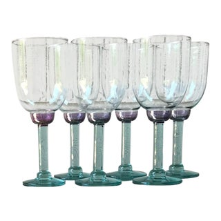 Vintage Green and Purple Color Block Wine Glasses - Set of 6