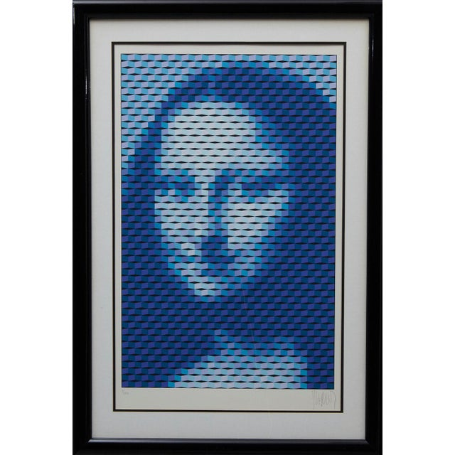 """Blue Yvaral (Jean-Pierre Vasarely) """"Mona Lisa"""" Serigraph For Sale - Image 8 of 8"""