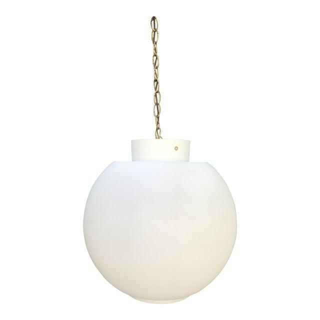 Vintage Mid Century Modern Swedish White Glass Globe Light Chandelier For Sale
