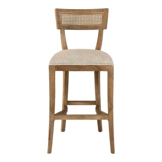 Selborne Cane Back Bar Stool in Cream For Sale