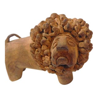 19th Century Red Ware Handmade Clay Lion from Pennsylvania For Sale