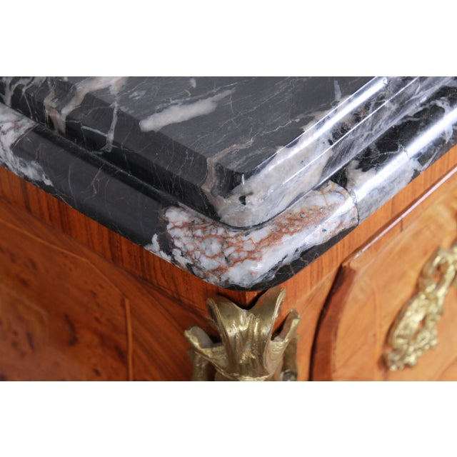 Black French Louis XV Style Inlaid Mahogany Marble Top Bombay Chest For Sale - Image 8 of 13
