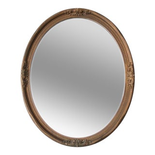 Vintage Faux Wood Frame Mirror For Sale