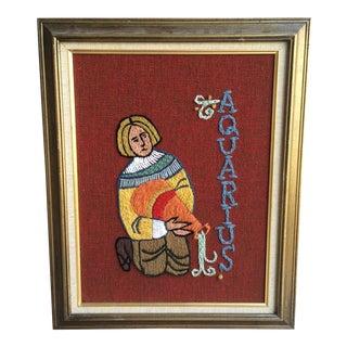 Vintage Needlepoint/Crewelwork Art, Aquarius