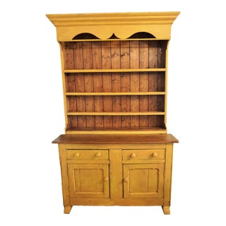 Antique Painted Pine Buffet Hutch For Sale
