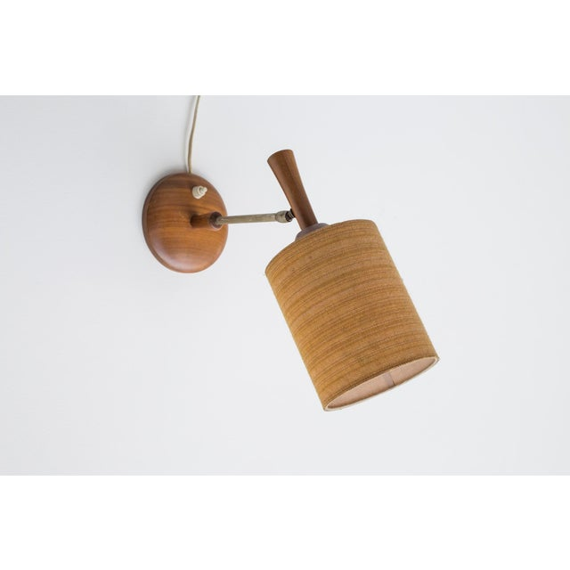 Mid-Century Teak and Brass Wall Lamp - Image 8 of 11