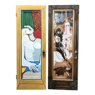 Painted Interior Doors / Cafe Restrooms - A Pair For Sale