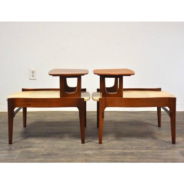 Bertha Schaefer Bertha Schaefer Walnut and Travertine End Tables - a Pair For Sale - Image 4 of 11
