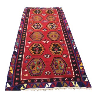 1960s Red Kilim Rug For Sale