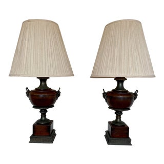 1930s Neoclassical French Empire Style Bronze Ormolu Wood Lamps - a Pair For Sale