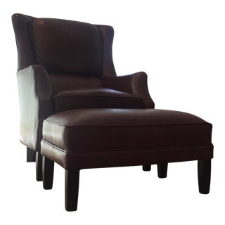 Arhaus Leather Alex Chair & Ottoman For Sale