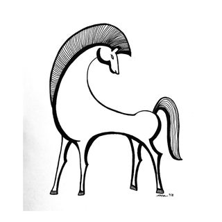 """Original Pen & Ink Drawing, """"Etruscan Horse"""" by Christy Almond"""