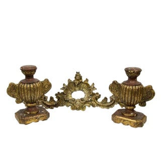 Vintage Louis XV Style Lamp Bases and Wall Crest Architectural Elements - 3 Pc. Set For Sale