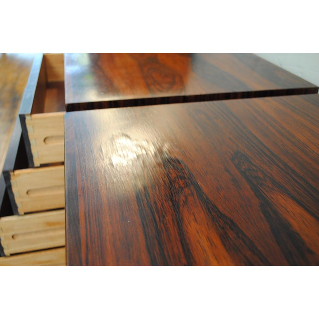 Brown Danish Brazilian Rosewood 4 Drawer Nightstands- A Pair For Sale - Image 8 of 10