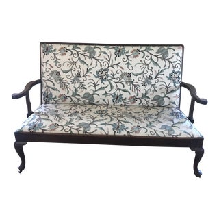 20th Century Queen Anne Crewel Work Needlepoint Sofa For Sale