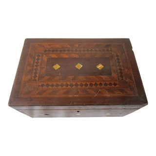 Antique English Inlay Marquetry Box For Sale