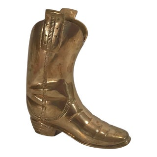 Vintage Brass Boot Planter For Sale