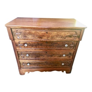 Serpentine Rococo Style Flame Mahogany Chest of Drawers