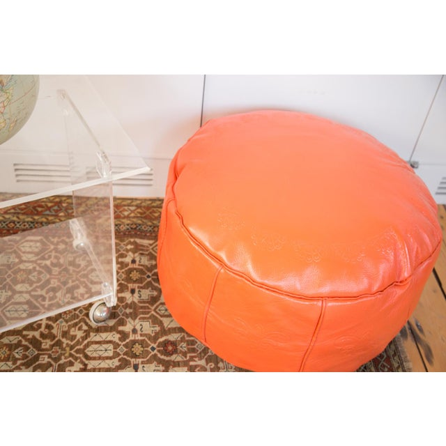 Antique Leather Moroccan Pouf - Orange - Image 6 of 8
