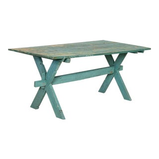 Antique Blue/Green Painted Farm Table For Sale