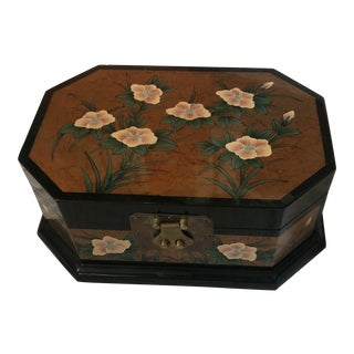 Vintage Asian Black Lacquer Storage Box For Sale