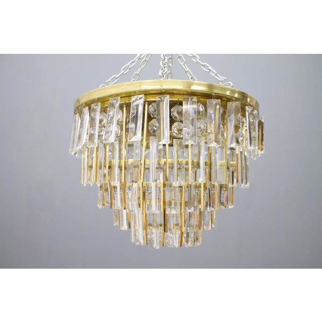 Hollywood Regency Pair of Crystal Glass Flush Mount Chandelier by Palwa, Germany, 1970s For Sale - Image 3 of 11