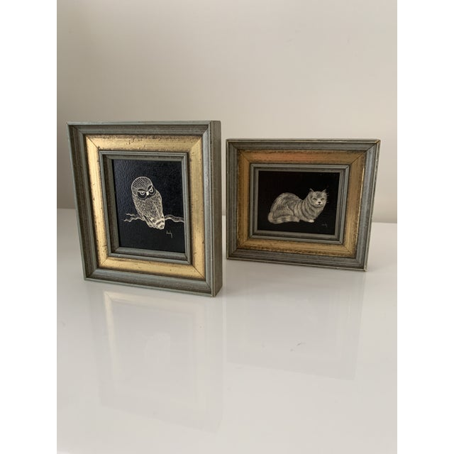 Vintage Framed & Signed Scratch Art - a Pair For Sale - Image 4 of 11