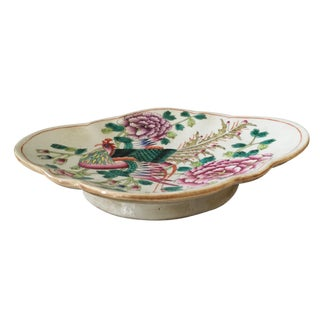 """Old Famille Rose Porcelain Footed Dish/Bowl 11.25 """" W For Sale"""