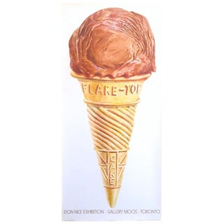 "Don Nice Rare Vintage 1980 "" Ice Cream Cone "" Lithograph Print Pop Art Exhibition Poster For Sale"