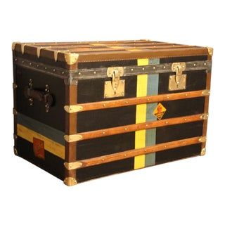 1920s Black Moynat Steamer Trunk For Sale