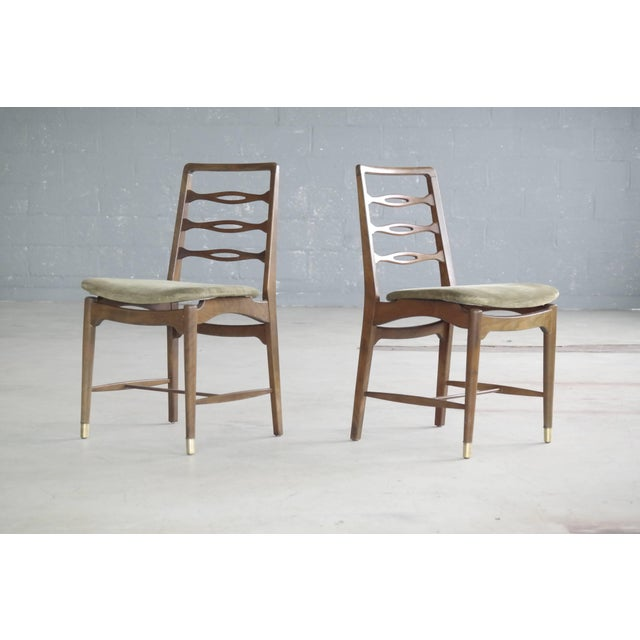 Mid-Century Modern Set of Six Ole Wanscher Attributed Danish Midcentury Dining Chairs For Sale - Image 3 of 10
