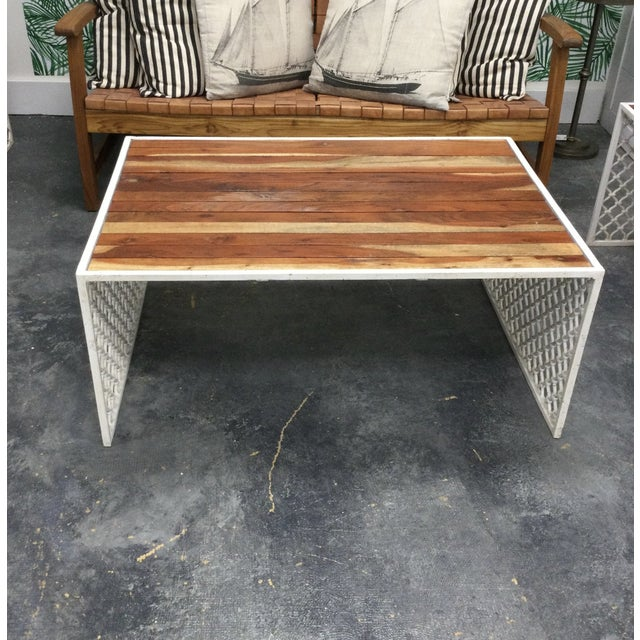 Postmodern Outdoor Jali Wood Coffee Table With Powder Coated Moroccan Design Base For Sale - Image 3 of 4