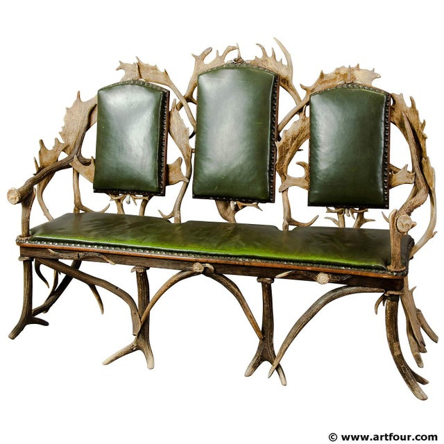 Antique Black Forest Three Seater Antler Sofa 1900 For Sale - Image 6 of 6