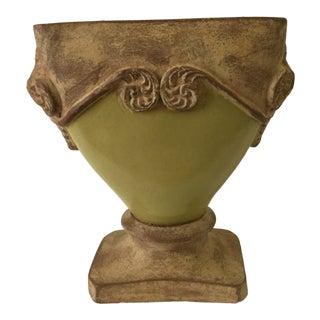 Green Glazed Pedestal Vase For Sale
