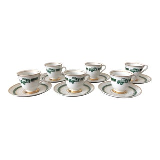 Vintage Porcellana Maua Old Fashioned Car Demitasse Coffee Set - Set of 6 For Sale