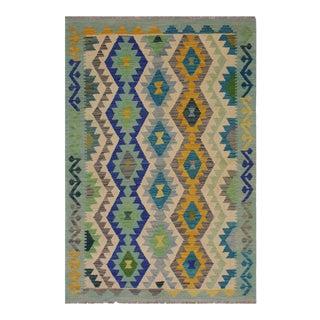 Bohemian Burl Lime Green/Ivory Hand-Woven Kilim Wool Rug - 3'10 X 6'0 For Sale