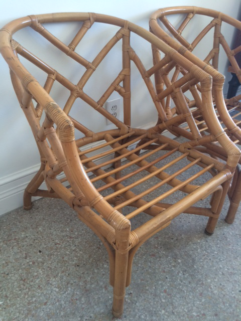 Vintage Rattan Chippendale Barrel Chairs   A Pair   Image 2 Of 10