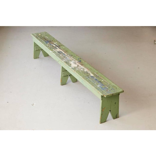 Primitive Green Pine Bench with Lots of Color Splashes from an Artist's Atelier For Sale In New York - Image 6 of 10