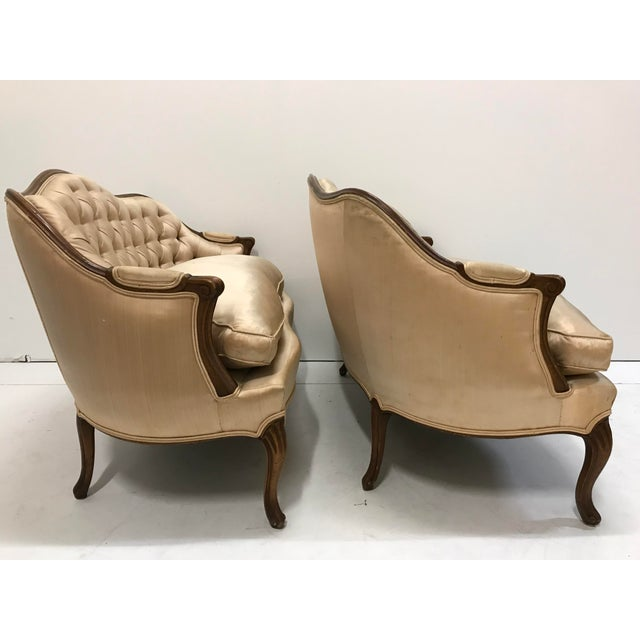 Baker Furniture Company 1960s Country French Loveseats Settee Cabriole Leg Louis XV Style Button Tufted Carved Frame - a Pair For Sale - Image 4 of 12