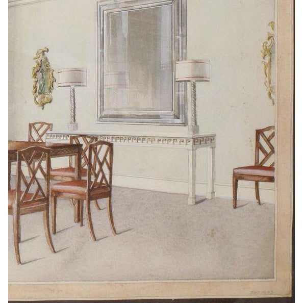 Fabulous original watercolour signed 'Thomas' (LR) depicting an elaborate chinoiserie- inspired dining room interior in a...