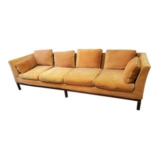 Mid-Century Modern Milo Baughman for Thayer Coggin Long Orange Velvet Sofa For Sale