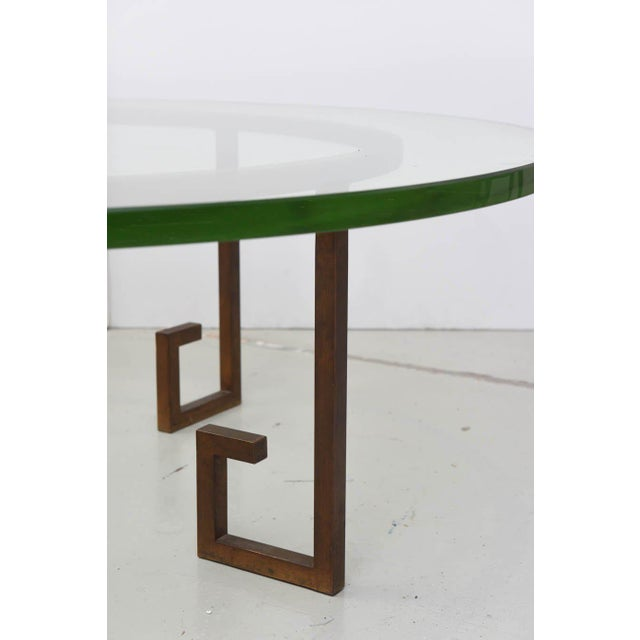 Metal French Modern Gilt Iron and Glass Low Table, Style of Jean Royère For Sale - Image 7 of 9