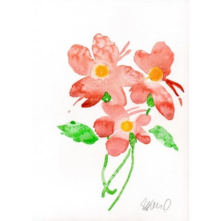 """""""Pink Floral"""" Watercolor Painting For Sale"""