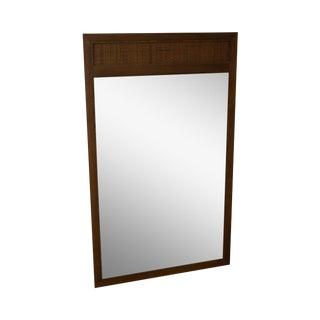 Mid Century Modern Walnut & Cane Hanging Wall Mirror For Sale