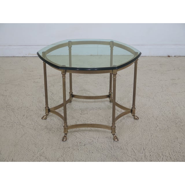 Metal Labarge Brass & Glass Hoof Foot Occasional Table For Sale - Image 7 of 7