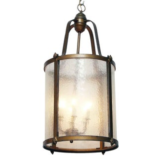 Seeded Glass and Bronze Lantern, 1920s For Sale