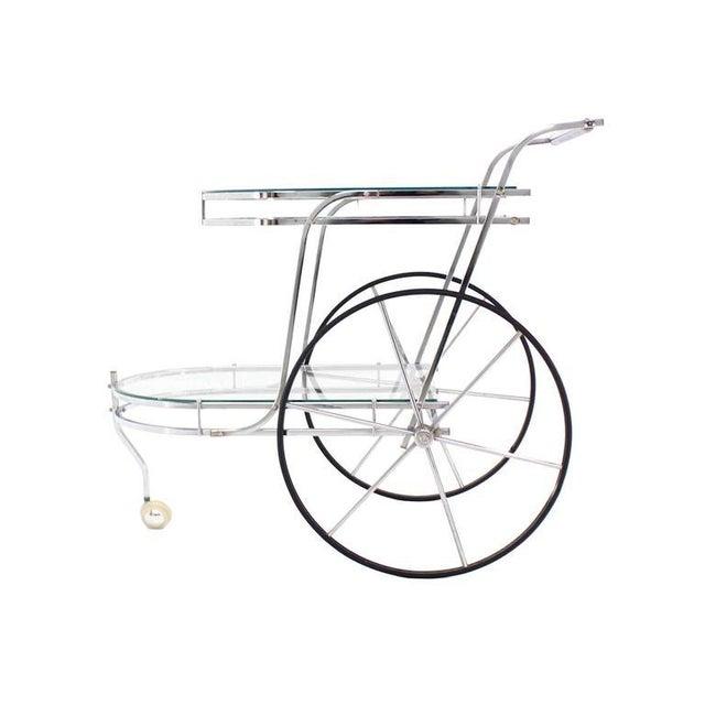 Chrome Large Wheel Design Chrome and Glass Tea Bar Cart For Sale - Image 7 of 7